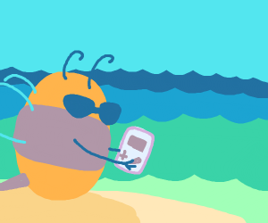 Bee playing Gameboy at the Beach