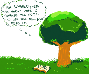 Tree reading a book