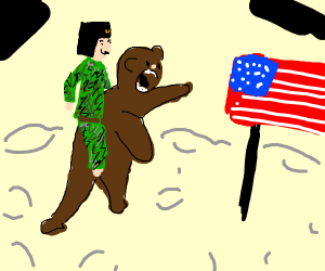 russian riding a bear looking at americanflag