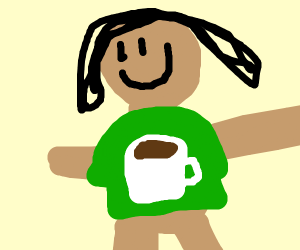 Person with a coffee shirt