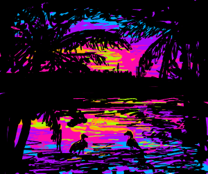 Tropical pond with birds at sunset