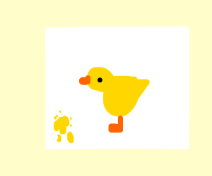 A duck painting something