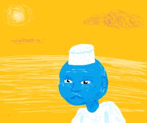 Smurf in a scorching desert landscape