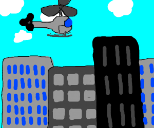 a helicopter flying over buildings