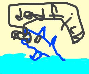 Shark eats a penguin - Drawception