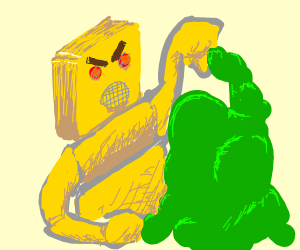 yellow robot fighting goo with his fists