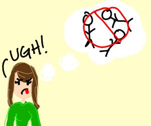 A girl expressing her dislike for stick-men