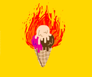 ice cream on fire