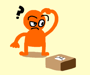 orange man is confused by a box with a letter