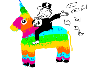 Monopoly man riding a pinyata
