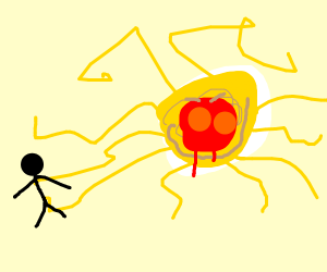 Stickman being grabbed by spaghetti