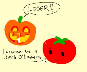 Tomato wants to be a Jack-O-Lantern