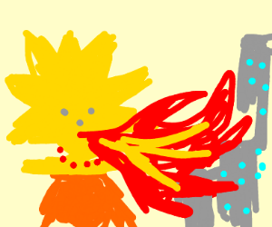 Lisa Simpson breathes fire over the city