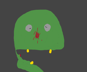 Zombie's jaw is disconnected from its head
