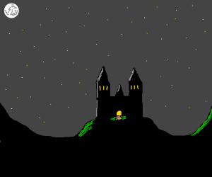 spooky castle under moonlight
