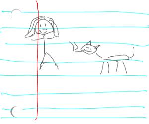 School doodle of girl and cat smoking