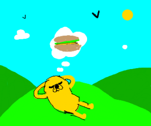 Jake (Adventure Time) Thinking Of Sandwiches