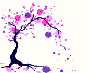 Tree with pink dots for leaves