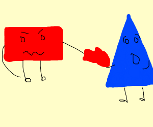 triangle being punched by a rectangle