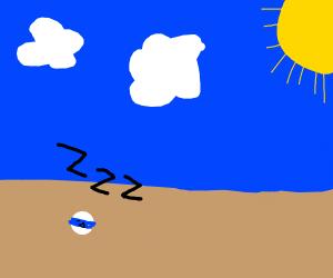10 ball sleeps on sunny beach