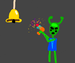 Mad Alien ABOUT to Shoot a Bell