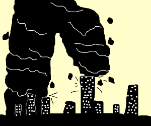 B&W city being stepped on by a black blob man