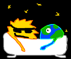 the sun and the earth taking a bath in space