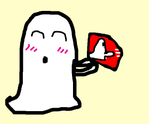 Blushing ghost holds dodgy book