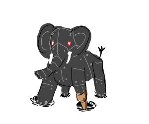 Robot elephant with peg leg