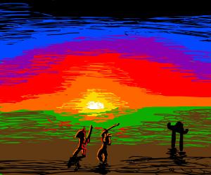 Samurai fighting at sunset