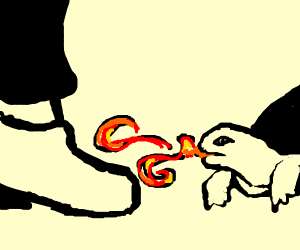 A turtle breathing fire on a person's shoe