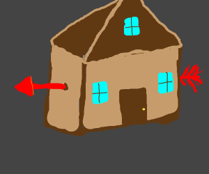 Beautiful brown house with red arrow