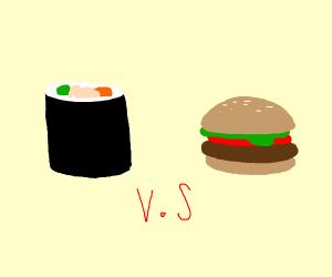 Sushi VS Burger anime style