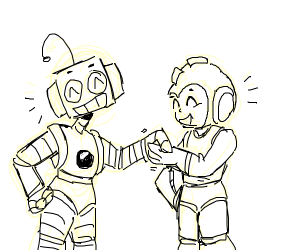 Mega man and robot are best friends