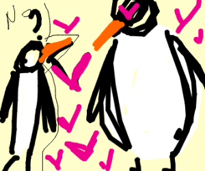 Thick penguin is awed by other penguin