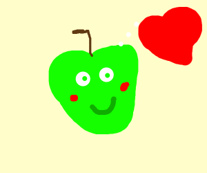 an apple in love