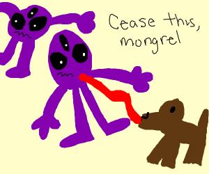 A dog licks little purple aliens