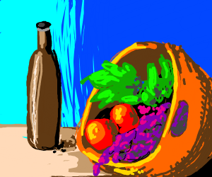Basket of fruit and wine still life