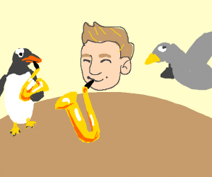 penguin/seagull/jazza playing a saxophone