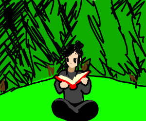 a girl reading a story