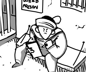 man drawing jojo in prison