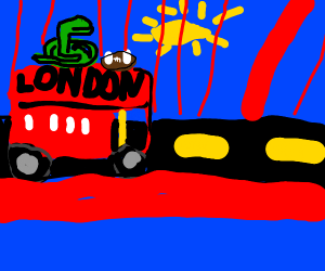 a snake playing football ontop of alondon bus
