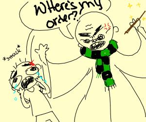 Crackhead, bald, blind wizard hits small boy.
