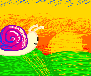 Snail looks at the sunset and smiles.