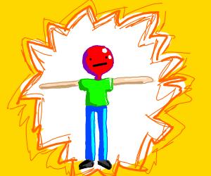 Ballon head man t-poses