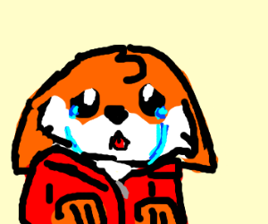 a fox that is crying