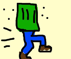 Old man running in stinking trash bin