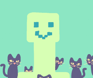 A happy creeper with cats around them