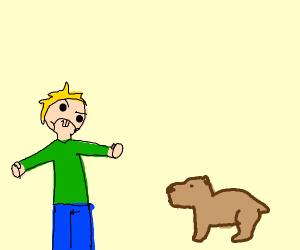 Toddler hates Capybara