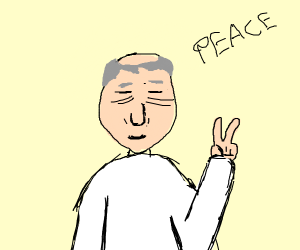 Old man making a peace sign